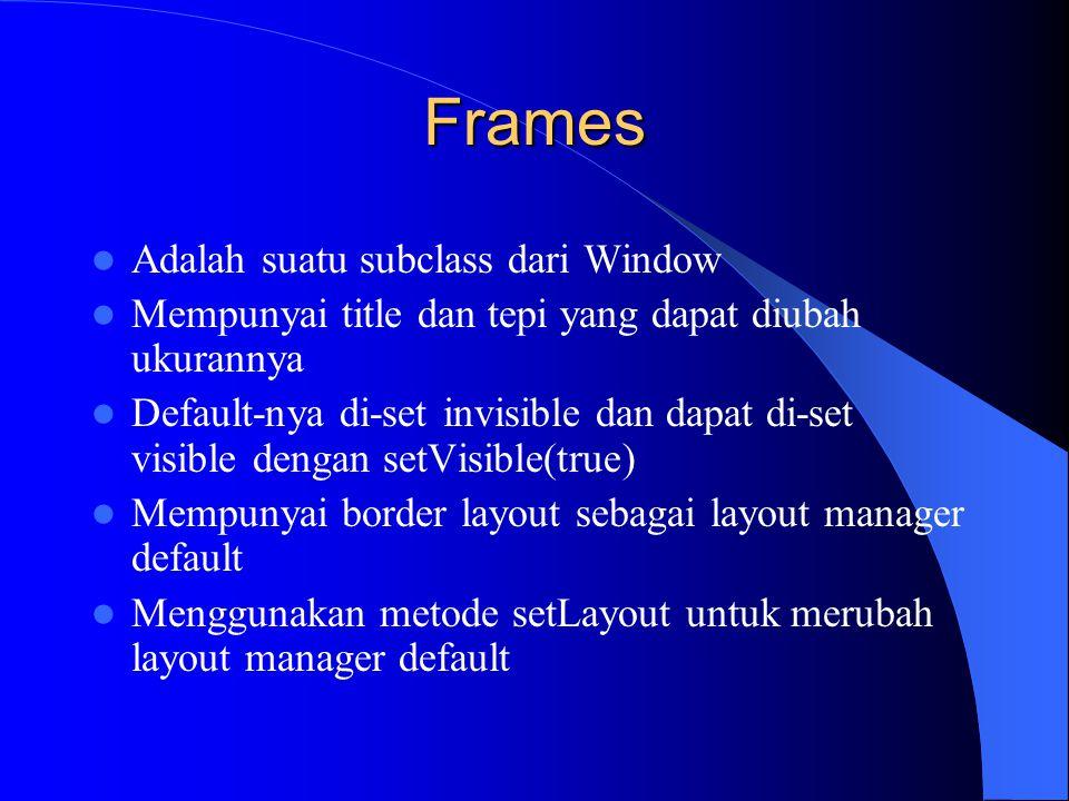 import java.awt.*; public class FrameExample { private Frame f; public FrameExample() { f=new Frame( Coba frame ); f.setSize(170,170); f.setBackground(Color.blue); f.setVisible(true); } public static void main(String args[]) { FrameExample guiWindow= new FrameExample(); } Contoh Frame