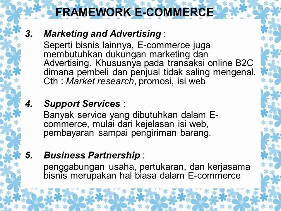FRAMEWORK E-COMMERCE 3.Marketing and Advertising : Seperti bisnis lainnya, E-commerce juga membutuhkan dukungan marketing dan Advertising. Khususnya p