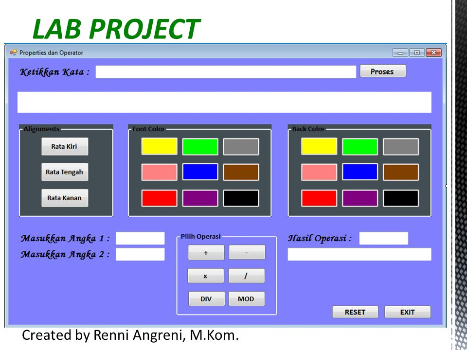 LAB PROJECT Created by Renni Angreni, M.Kom.