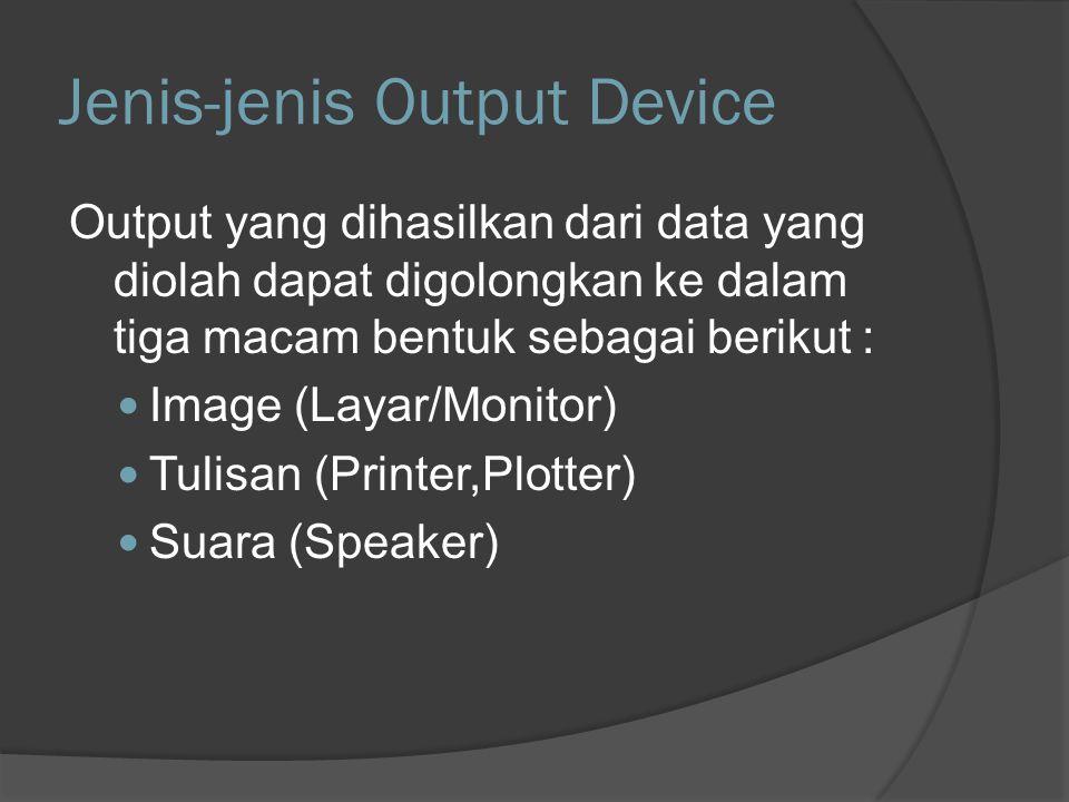 Layar/Monitor Jenis monitor berdasarkan teknologi pembuatannya Cathode Ray Tube (CRT) Liquid Crystal Display (LCD) Light Emitting Diode (LED) Plasma