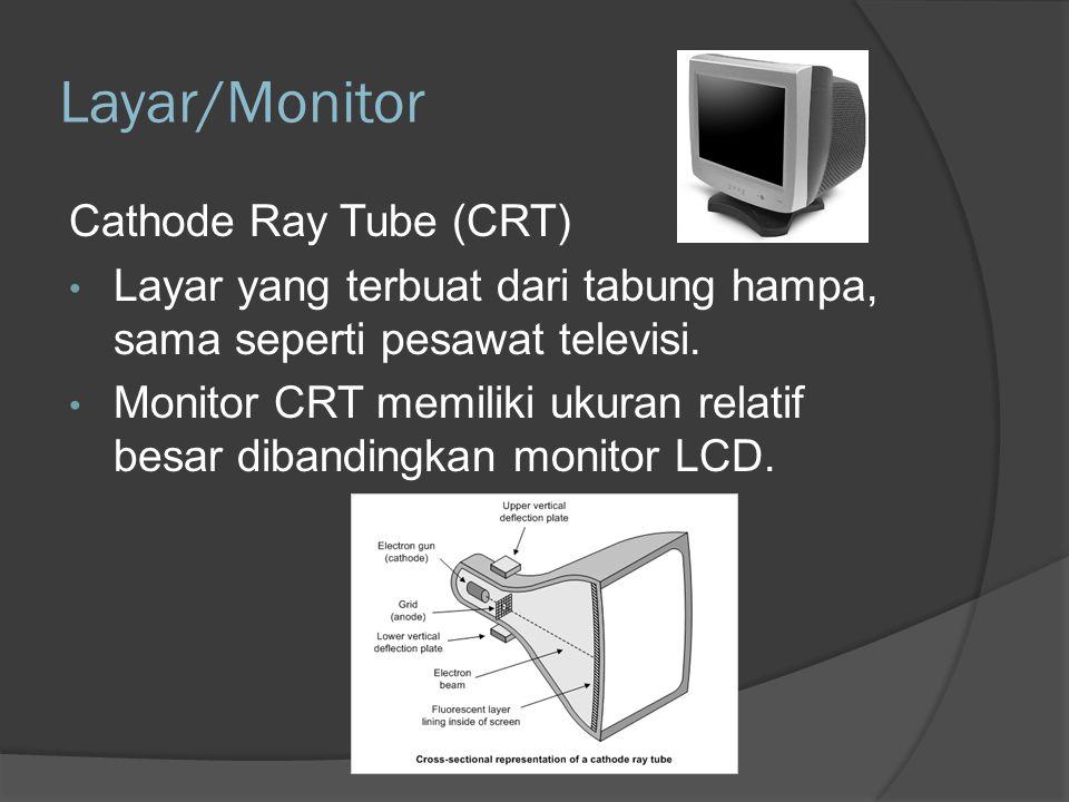 Layar /Monitor – Display adapter Display adapter merupakan piranti antarmuka yang terdapat pada motherboard sebagai penghubung monitor dan komputer.
