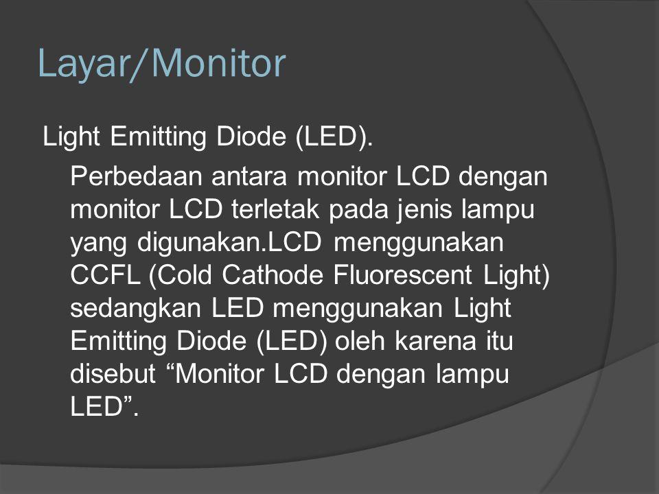 Layar/Monitor Plasma Display Monitor plasma menggunakan gas dan fosfor untuk menghasilkan gambar.