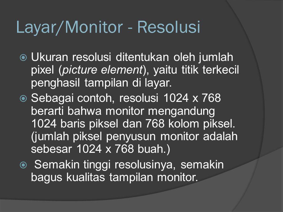 Layar/Monitor - Resolusi Pixel Picture Element, satu elemen individu (unit terkecil) dalam susunan gambar raster yang membentuk keseluruhan tampilan.