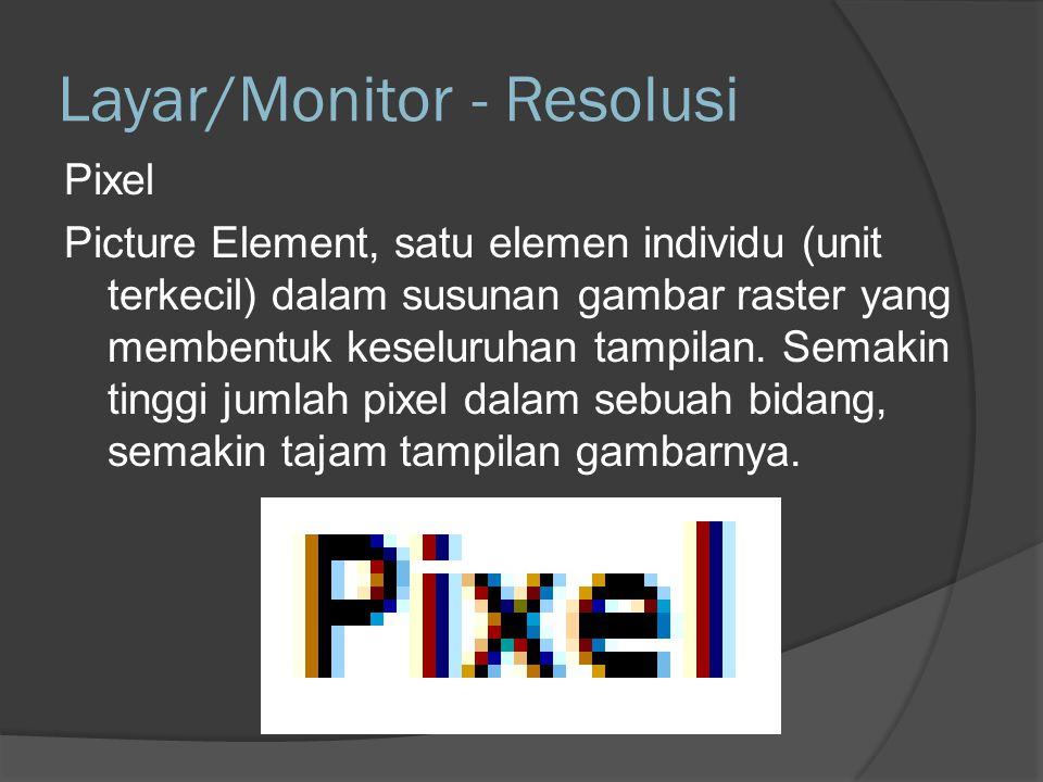 Berbagai standar resolusi untuk monitor dapat dilihat pada tabel berikut: