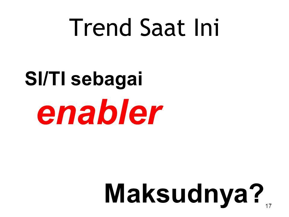 Trend Saat Ini SI/TI sebagai enabler Maksudnya? 17