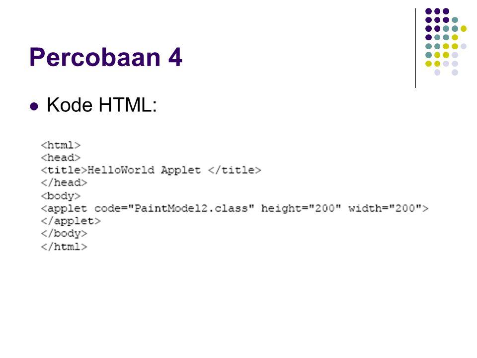 Percobaan 4 Kode HTML: