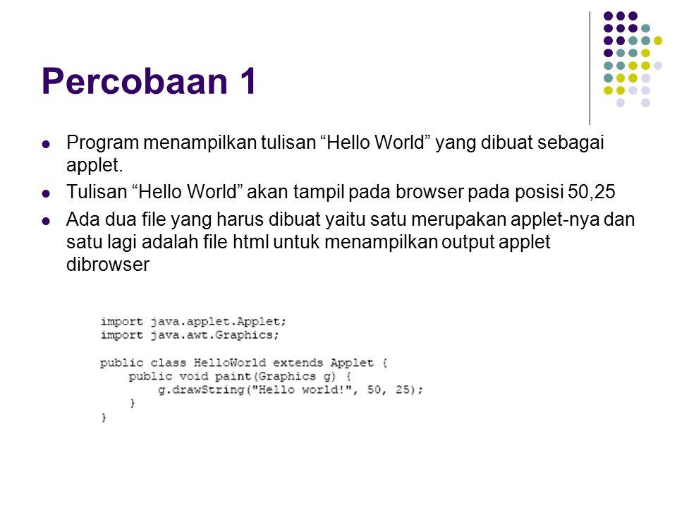 Percobaan 1 Program menampilkan tulisan Hello World yang dibuat sebagai applet.