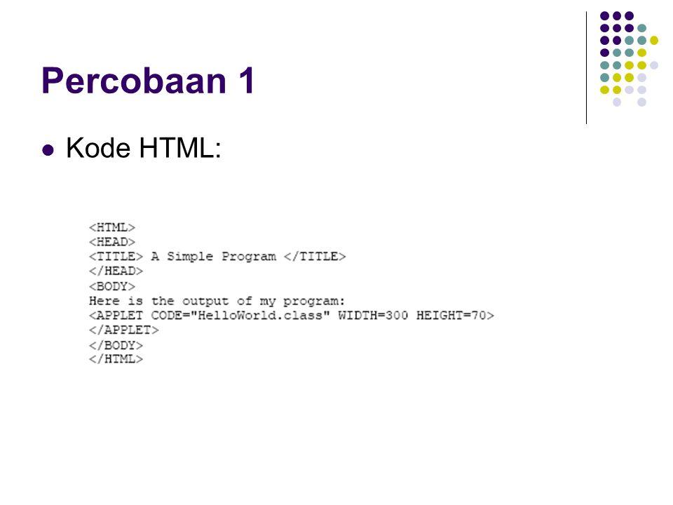 Percobaan 1 Kode HTML: