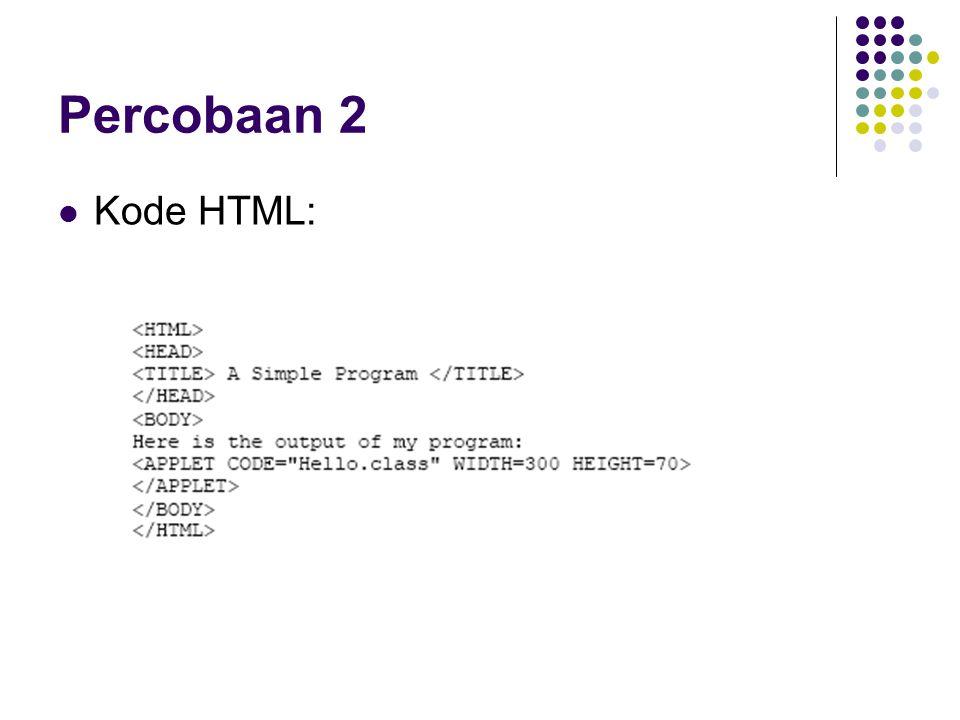 Percobaan 2 Kode HTML: