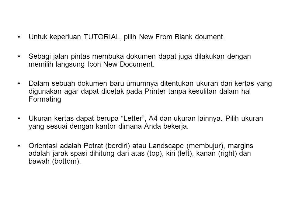 Untuk keperluan TUTORIAL, pilih New From Blank doument. Sebagi jalan pintas membuka dokumen dapat juga dilakukan dengan memilih langsung Icon New Docu