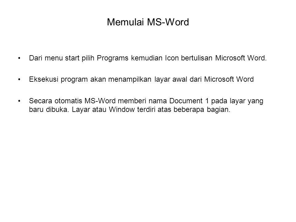 Memulai MS-Word Dari menu start pilih Programs kemudian Icon bertulisan Microsoft Word. Eksekusi program akan menampilkan layar awal dari Microsoft Wo