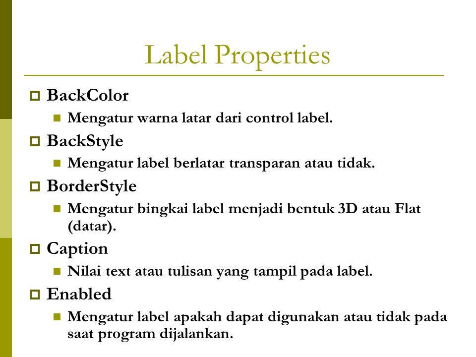 Label Properties  BackColor Mengatur warna latar dari control label.  BackStyle Mengatur label berlatar transparan atau tidak.  BorderStyle Mengatu