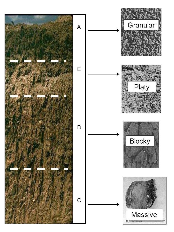 C B E A Granular Platy Blocky Massive