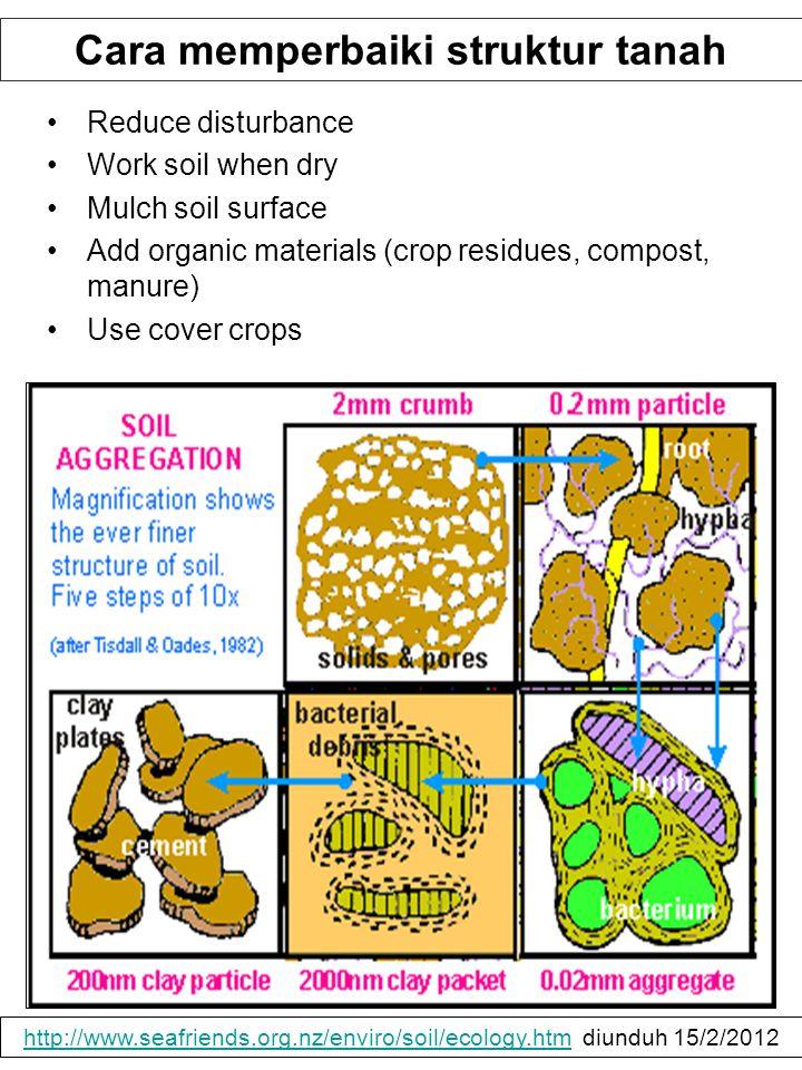 Cara memperbaiki struktur tanah Reduce disturbance Work soil when dry Mulch soil surface Add organic materials (crop residues, compost, manure) Use co