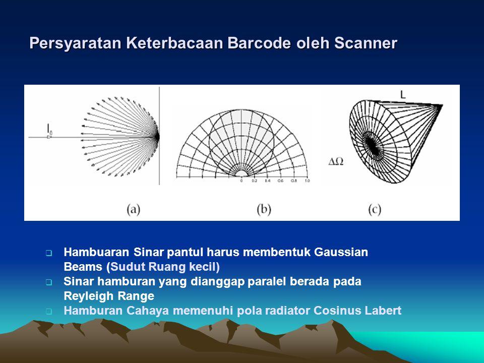 Persyaratan Keterbacaan Barcode oleh Scanner  Hambuaran Sinar pantul harus membentuk Gaussian Beams (Sudut Ruang kecil)  Sinar hamburan yang dianggap paralel berada pada Reyleigh Range  Hamburan Cahaya memenuhi pola radiator Cosinus Labert