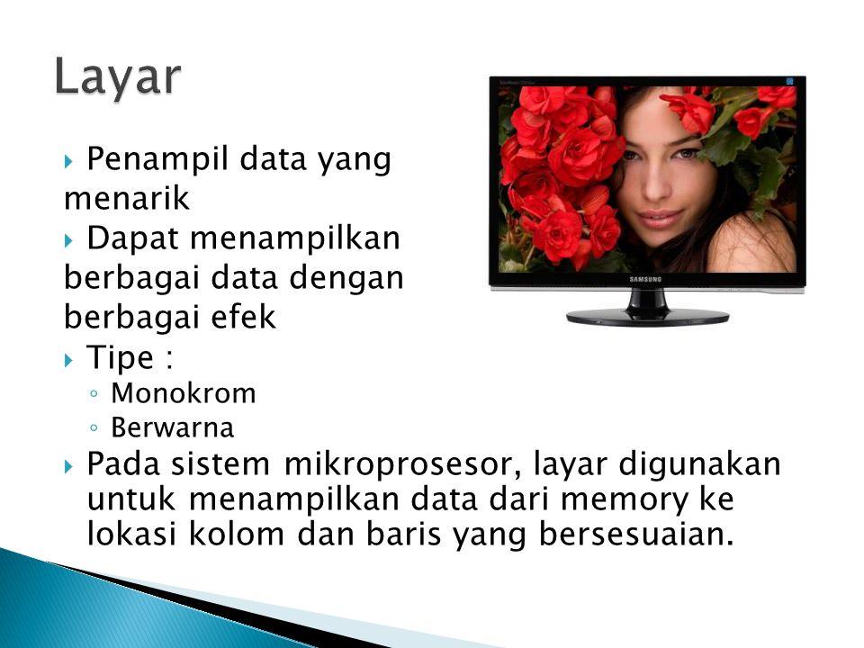  Penampil data yang menarik  Dapat menampilkan berbagai data dengan berbagai efek  Tipe : ◦ Monokrom ◦ Berwarna  Pada sistem mikroprosesor, layar