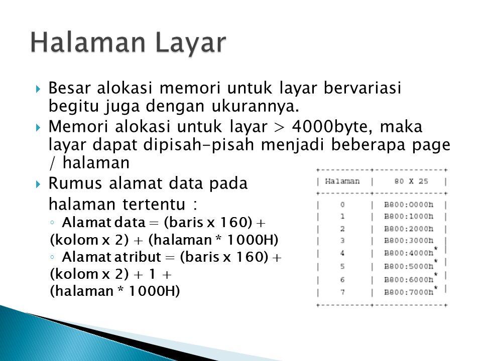 Besar alokasi memori untuk layar bervariasi begitu juga dengan ukurannya.  Memori alokasi untuk layar > 4000byte, maka layar dapat dipisah-pisah me