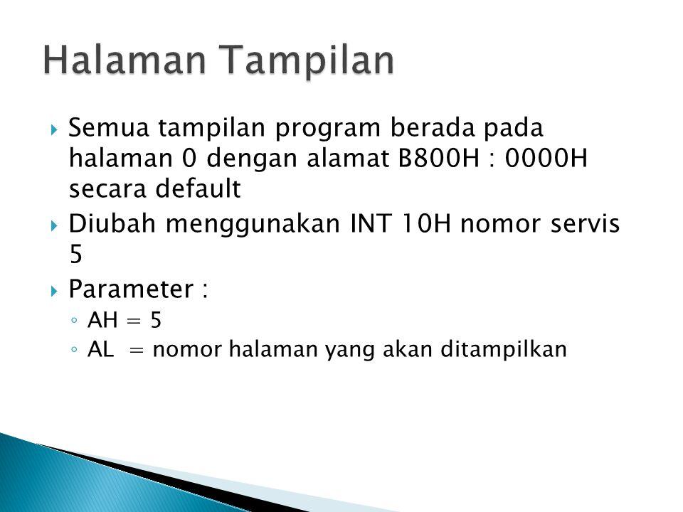  Semua tampilan program berada pada halaman 0 dengan alamat B800H : 0000H secara default  Diubah menggunakan INT 10H nomor servis 5  Parameter : ◦