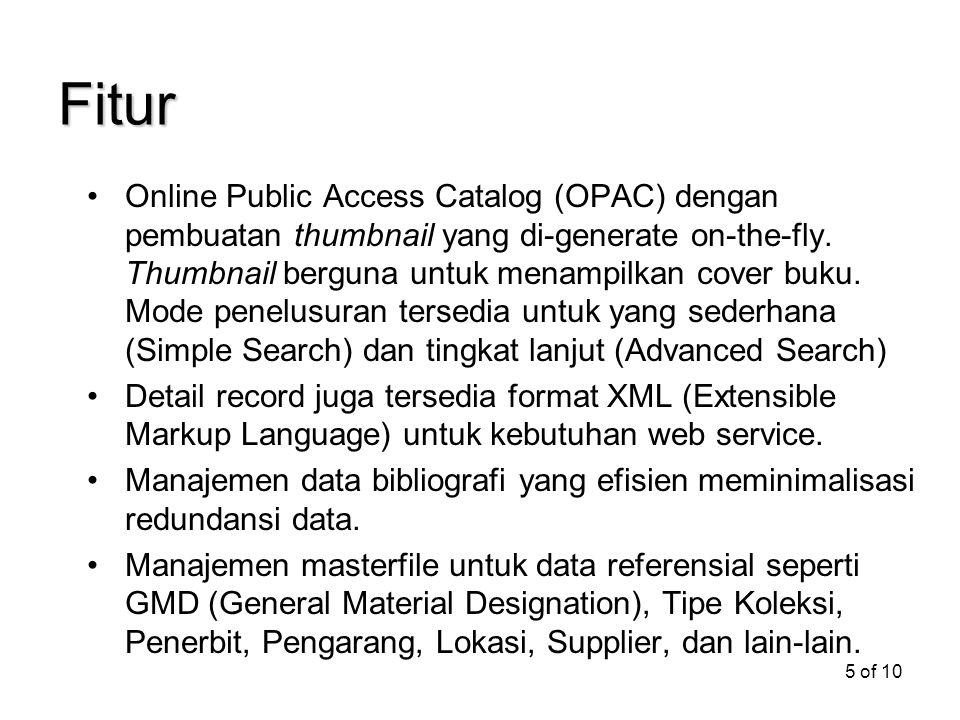 5 of 10 Fitur Online Public Access Catalog (OPAC) dengan pembuatan thumbnail yang di-generate on-the-fly. Thumbnail berguna untuk menampilkan cover bu