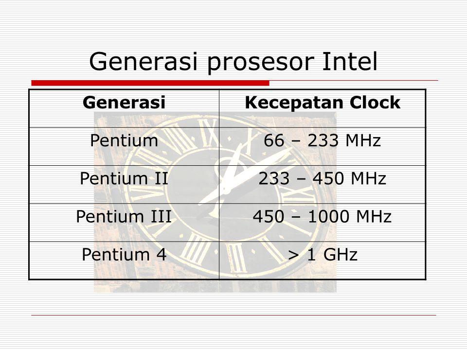 Generasi prosesor Intel GenerasiKecepatan Clock Pentium66 – 233 MHz Pentium II233 – 450 MHz Pentium III450 – 1000 MHz Pentium 4> 1 GHz