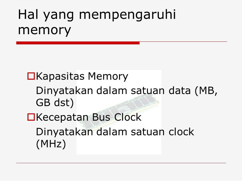 Hal yang mempengaruhi memory  Kapasitas Memory Dinyatakan dalam satuan data (MB, GB dst)  Kecepatan Bus Clock Dinyatakan dalam satuan clock (MHz)