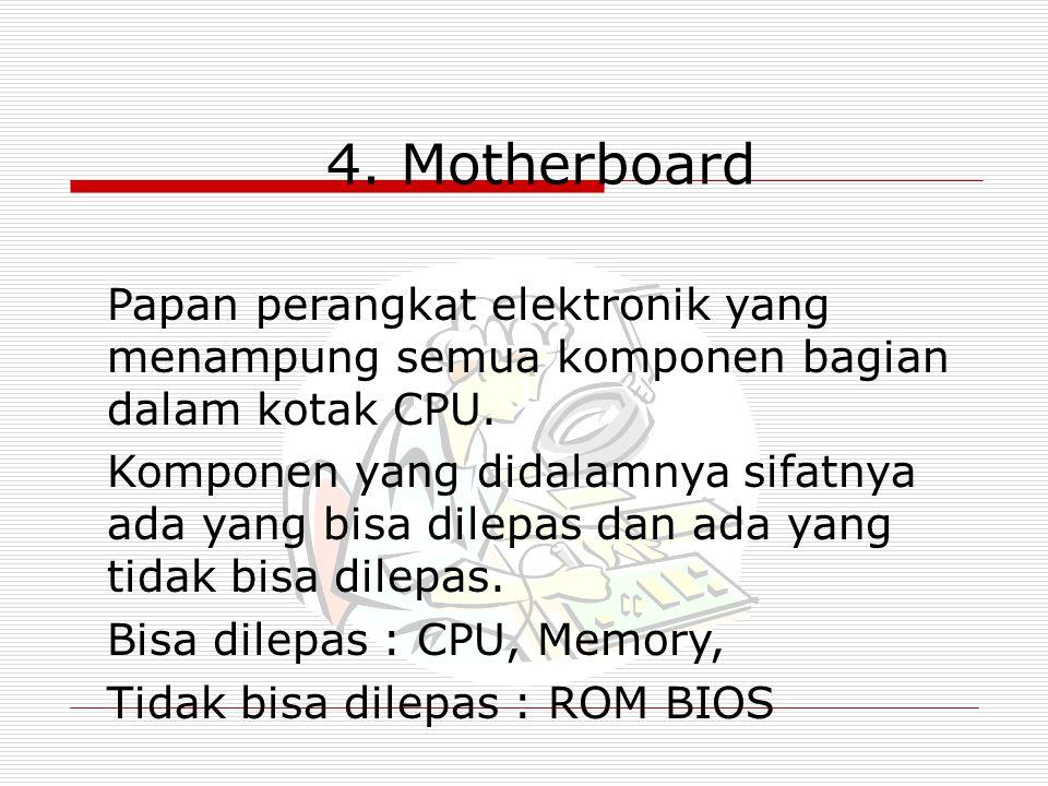 4. Motherboard Papan perangkat elektronik yang menampung semua komponen bagian dalam kotak CPU. Komponen yang didalamnya sifatnya ada yang bisa dilepa