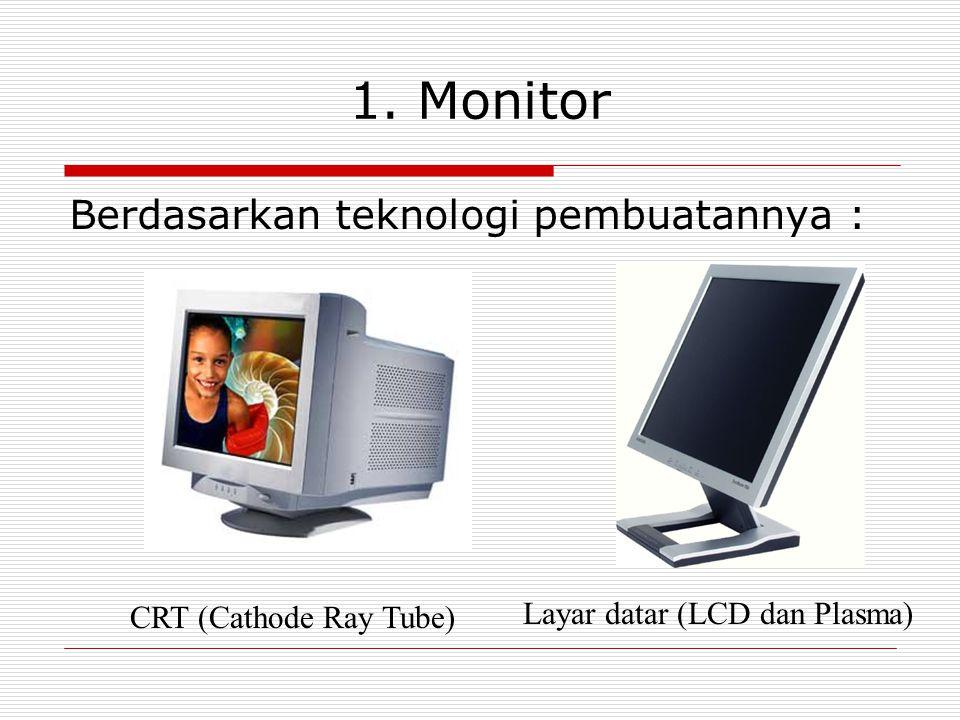 1. Monitor Berdasarkan teknologi pembuatannya : CRT (Cathode Ray Tube) Layar datar (LCD dan Plasma)