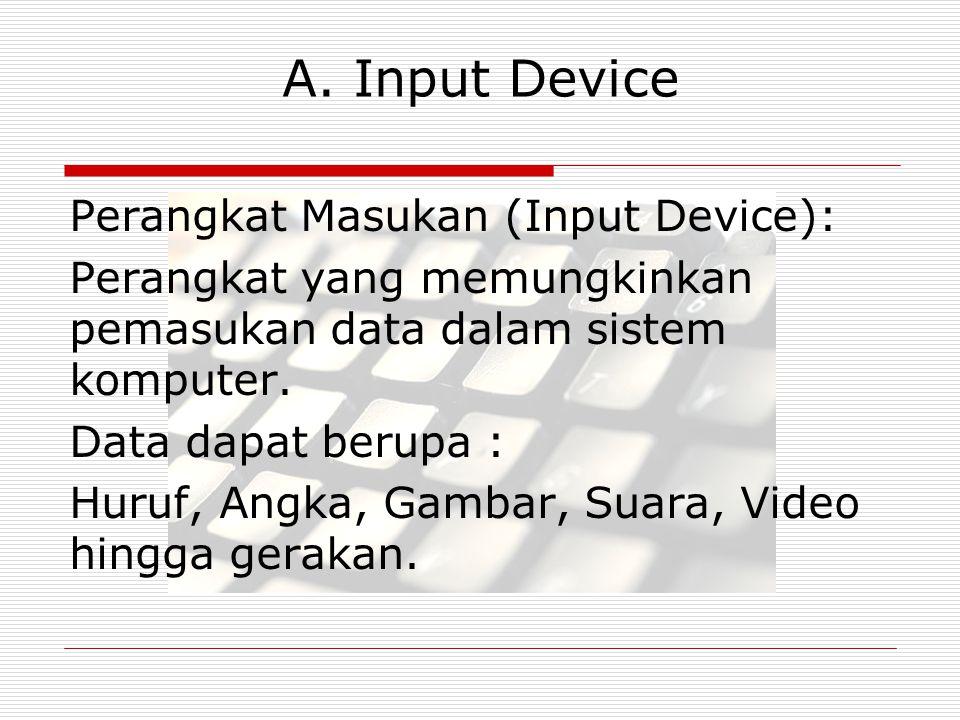 A. Input Device Perangkat Masukan (Input Device): Perangkat yang memungkinkan pemasukan data dalam sistem komputer. Data dapat berupa : Huruf, Angka,