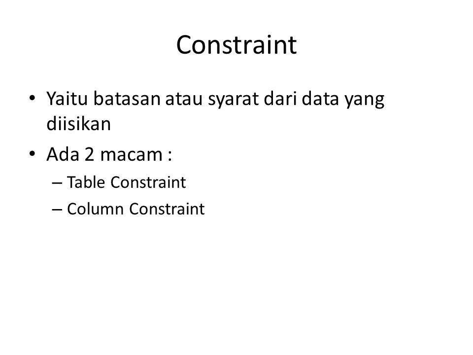 Constraint Yaitu batasan atau syarat dari data yang diisikan Ada 2 macam : – Table Constraint – Column Constraint