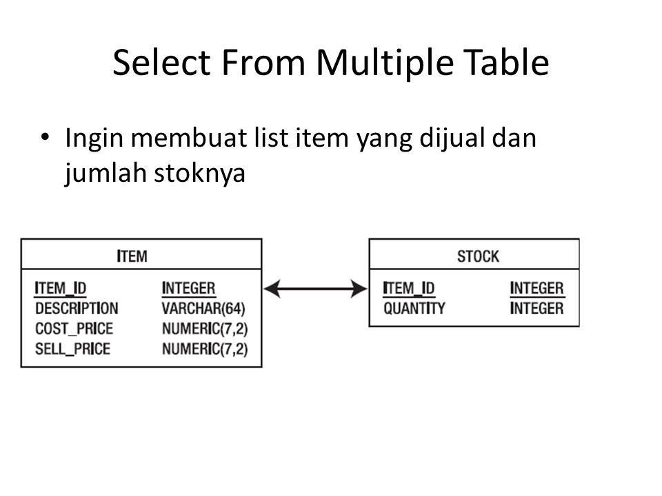 SELECT i.description, s.quantity FROM stock s, item i WHERE s.item_id = i.item_id;