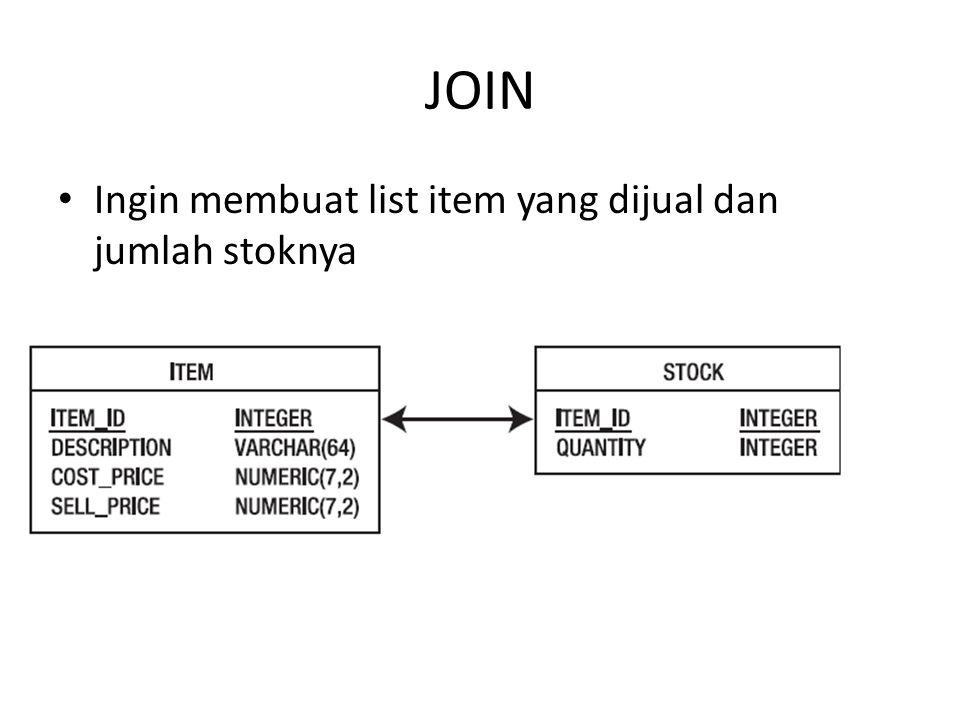 JOIN Ingin membuat list item yang dijual dan jumlah stoknya