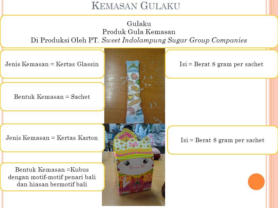 K EMASAN G ULAKU Gulaku Produk Gula Kemasan Di Produksi Oleh PT. Sweet Indolampung Sugar Group Companies Isi = Berat 8 gram per sachet Jenis Kemasan =