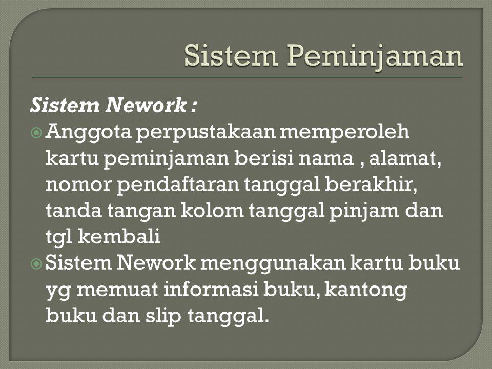 Sistem Nework :  Anggota perpustakaan memperoleh kartu peminjaman berisi nama, alamat, nomor pendaftaran tanggal berakhir, tanda tangan kolom tanggal
