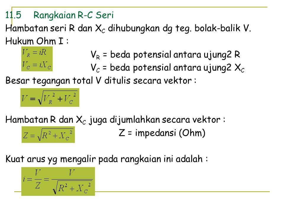 11.5Rangkaian R-C Seri Hambatan seri R dan X C dihubungkan dg teg. bolak-balik V. Hukum Ohm I : V R = beda potensial antara ujung2 R V C = beda potens