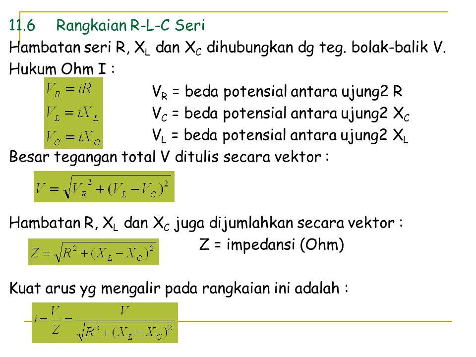 11.6Rangkaian R-L-C Seri Hambatan seri R, X L dan X C dihubungkan dg teg. bolak-balik V. Hukum Ohm I : V R = beda potensial antara ujung2 R V C = beda