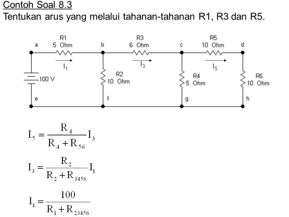Contoh Soal 8.3 Tentukan arus yang melalui tahanan-tahanan R1, R3 dan R5. I1I1 I3I3 I5I5