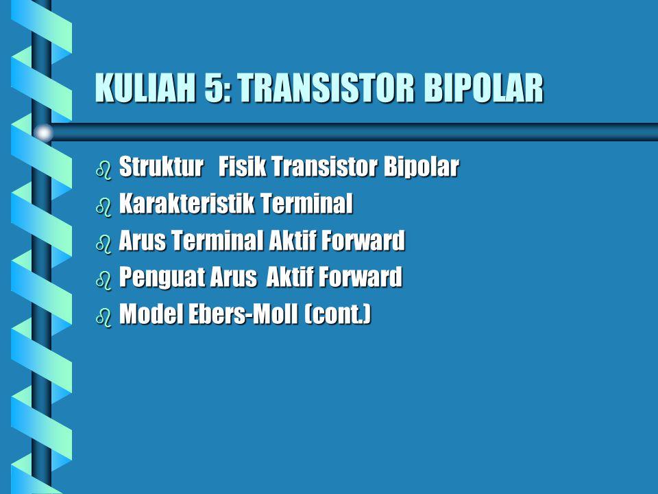 KULIAH 5: TRANSISTOR BIPOLAR b Struktur Fisik Transistor Bipolar b Karakteristik Terminal b Arus Terminal Aktif Forward b Penguat Arus Aktif Forward b