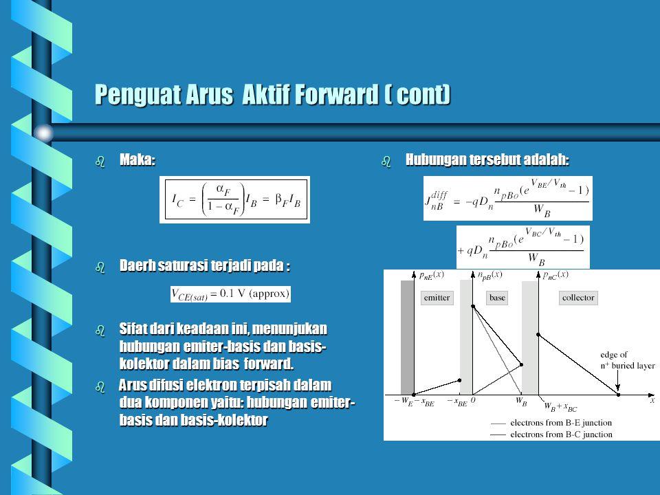 Penguat Arus Aktif Forward ( cont) b Maka: b Daerh saturasi terjadi pada : b Sifat dari keadaan ini, menunjukan hubungan emiter-basis dan basis- kolek