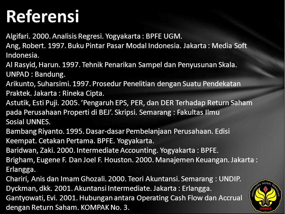 Referensi Algifari. 2000. Analisis Regresi. Yogyakarta : BPFE UGM. Ang, Robert. 1997. Buku Pintar Pasar Modal Indonesia. Jakarta : Media Soft Indonesi