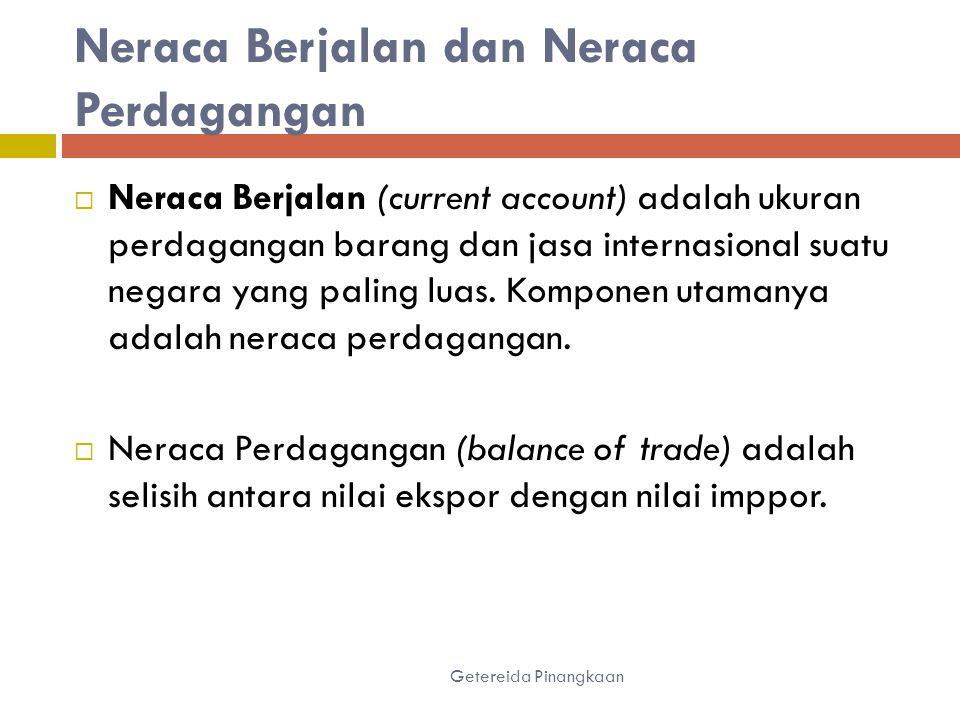Neraca Berjalan dan Neraca Perdagangan Getereida Pinangkaan  Neraca Berjalan (current account) adalah ukuran perdagangan barang dan jasa internasional suatu negara yang paling luas.