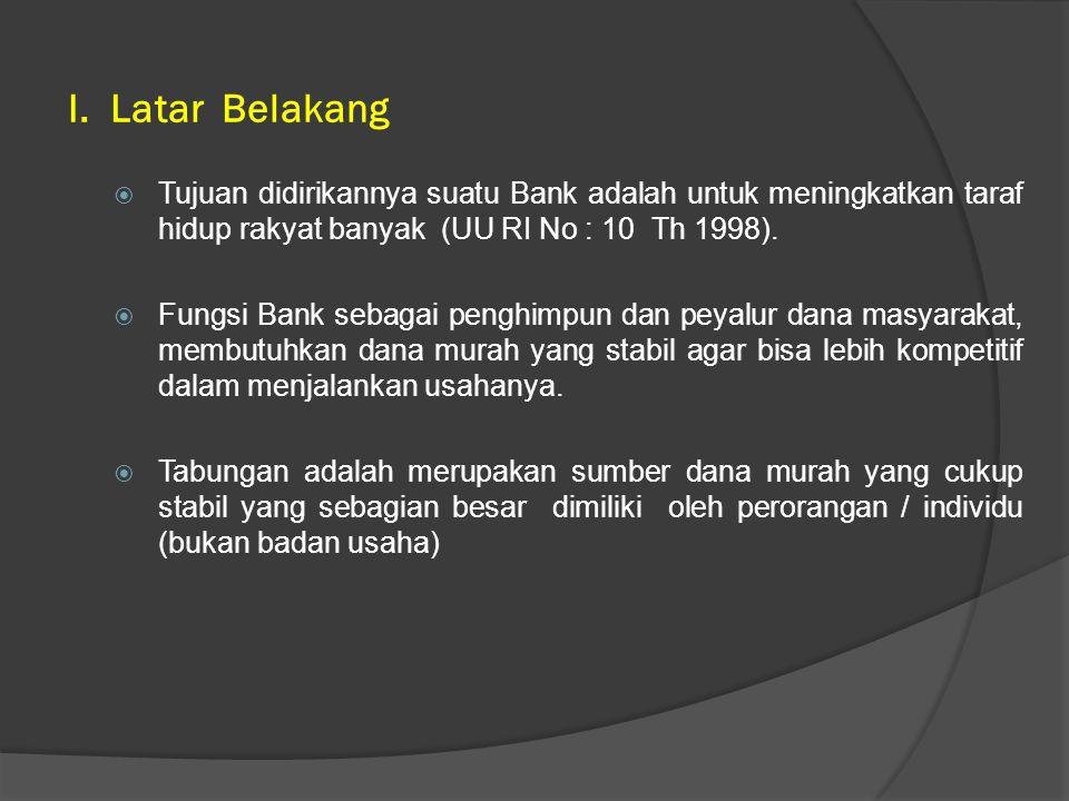  Tujuan didirikannya suatu Bank adalah untuk meningkatkan taraf hidup rakyat banyak (UU RI No : 10 Th 1998).  Fungsi Bank sebagai penghimpun dan pey