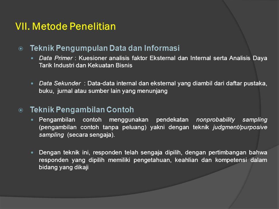 VII. Metode Penelitian  Teknik Pengumpulan Data dan Informasi Data Primer : Kuesioner analisis faktor Eksternal dan Internal serta Analisis Daya Tari