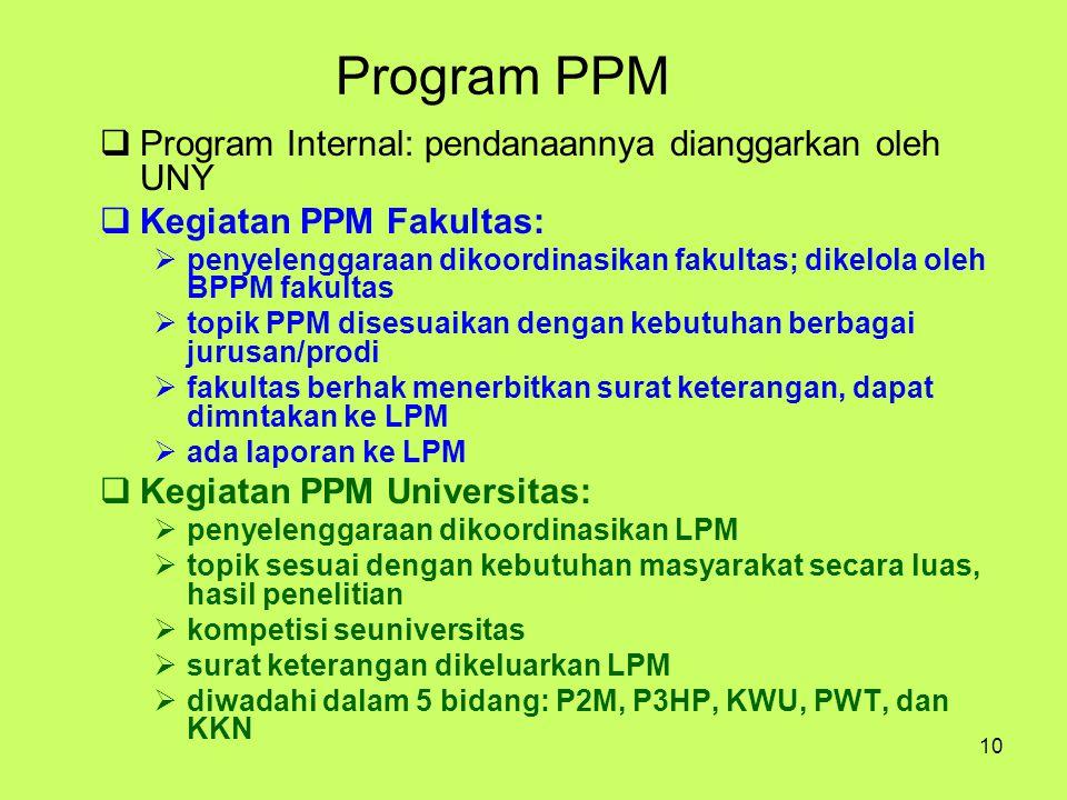 10 Program PPM  Program Internal: pendanaannya dianggarkan oleh UNY  Kegiatan PPM Fakultas:  penyelenggaraan dikoordinasikan fakultas; dikelola ole