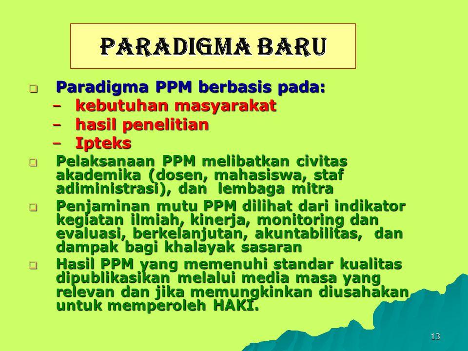 13 PARADIGMA BARU  Paradigma PPM berbasis pada: –kebutuhan masyarakat –hasil penelitian –Ipteks  Pelaksanaan PPM melibatkan civitas akademika (dosen