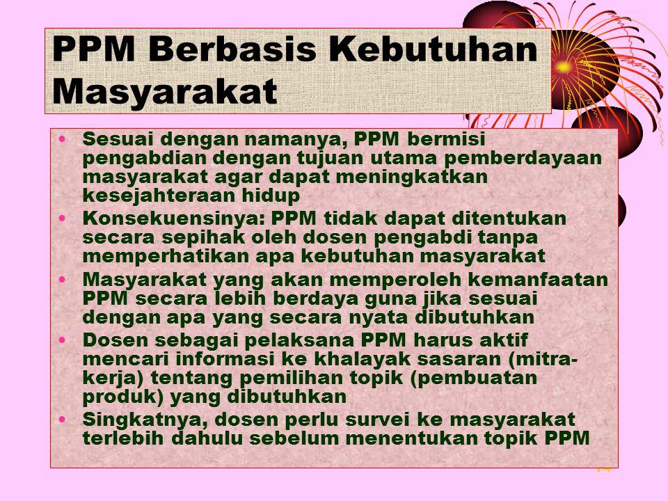 14 PPM Berbasis Kebutuhan Masyarakat Sesuai dengan namanya, PPM bermisi pengabdian dengan tujuan utama pemberdayaan masyarakat agar dapat meningkatkan