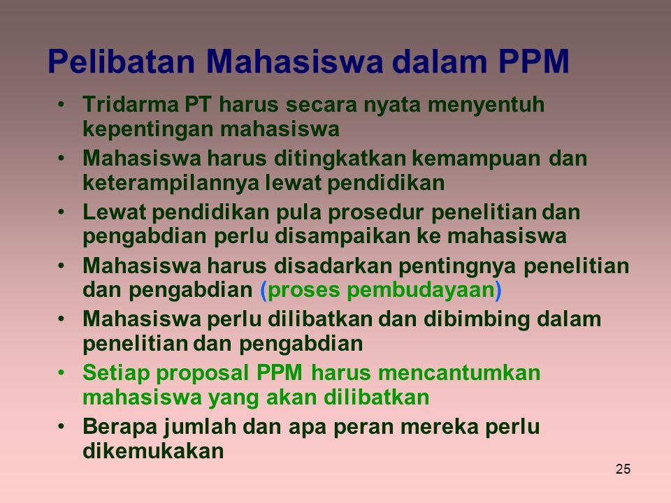 25 Pelibatan Mahasiswa dalam PPM Tridarma PT harus secara nyata menyentuh kepentingan mahasiswa Mahasiswa harus ditingkatkan kemampuan dan keterampila