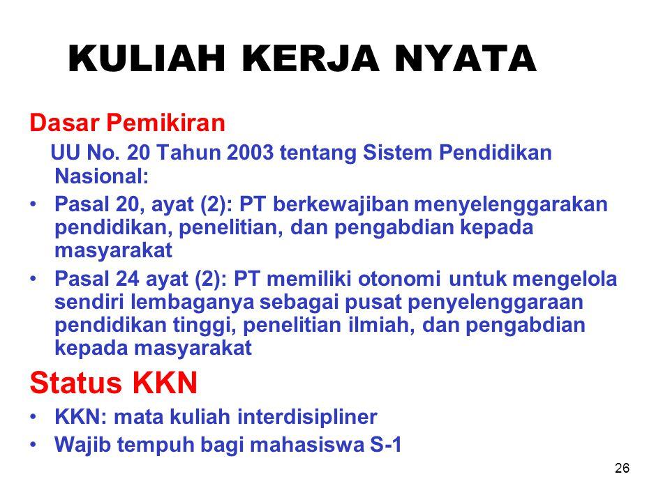 26 KULIAH KERJA NYATA Dasar Pemikiran UU No. 20 Tahun 2003 tentang Sistem Pendidikan Nasional: Pasal 20, ayat (2): PT berkewajiban menyelenggarakan pe