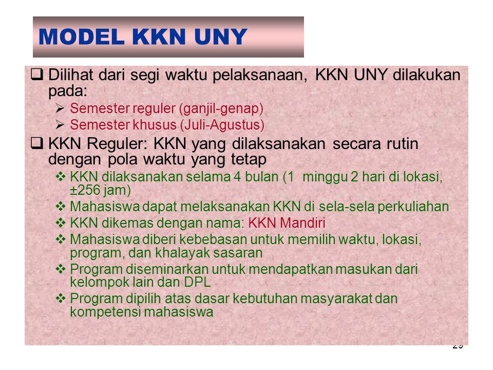 29 MODEL KKN UNY  Dilihat dari segi waktu pelaksanaan, KKN UNY dilakukan pada:  Semester reguler (ganjil-genap)  Semester khusus (Juli-Agustus)  K