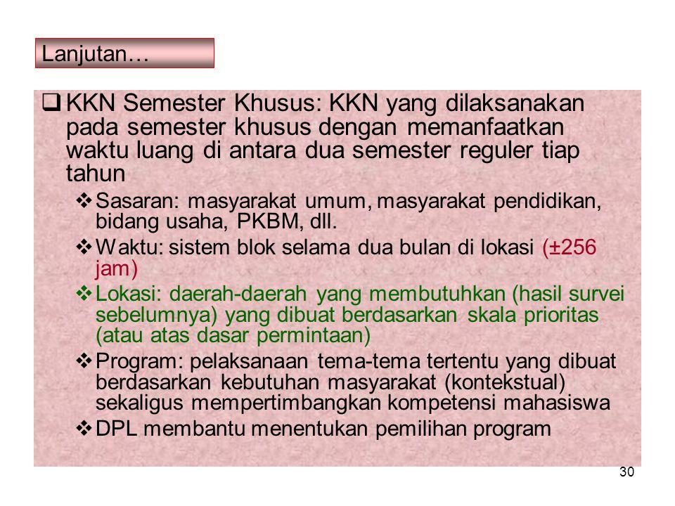 30 Lanjutan…  KKN Semester Khusus: KKN yang dilaksanakan pada semester khusus dengan memanfaatkan waktu luang di antara dua semester reguler tiap tah