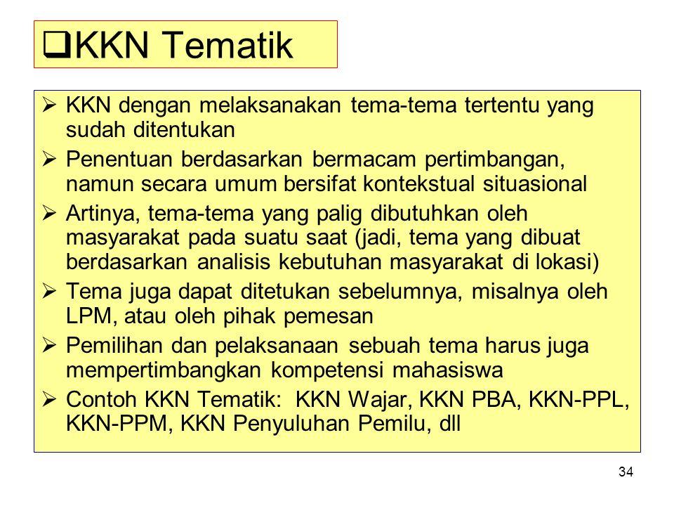 34  KKN Tematik  KKN dengan melaksanakan tema-tema tertentu yang sudah ditentukan  Penentuan berdasarkan bermacam pertimbangan, namun secara umum b